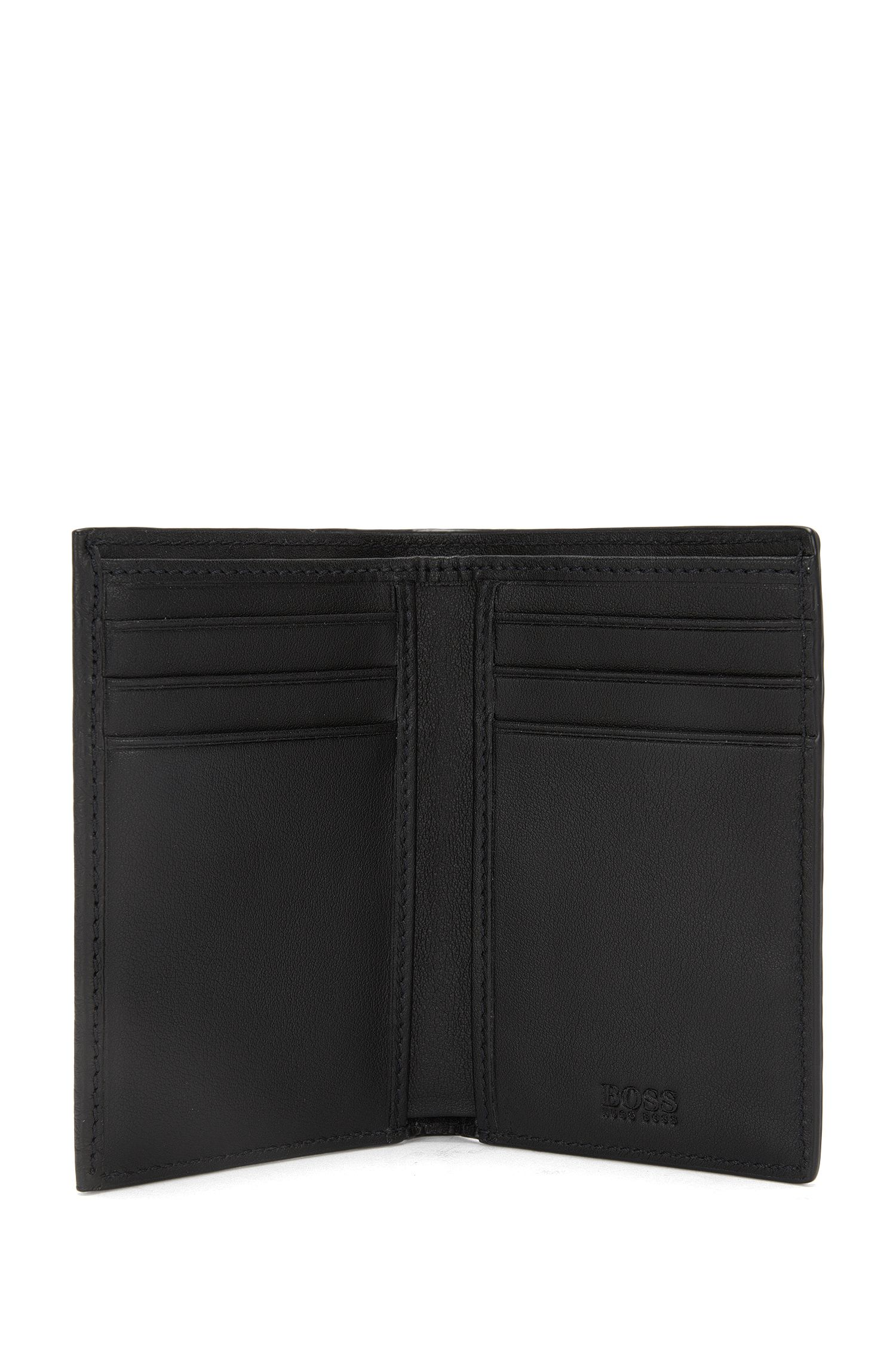 Vertical-format card case in embossed leather: 'Traveller_Bifold', Black