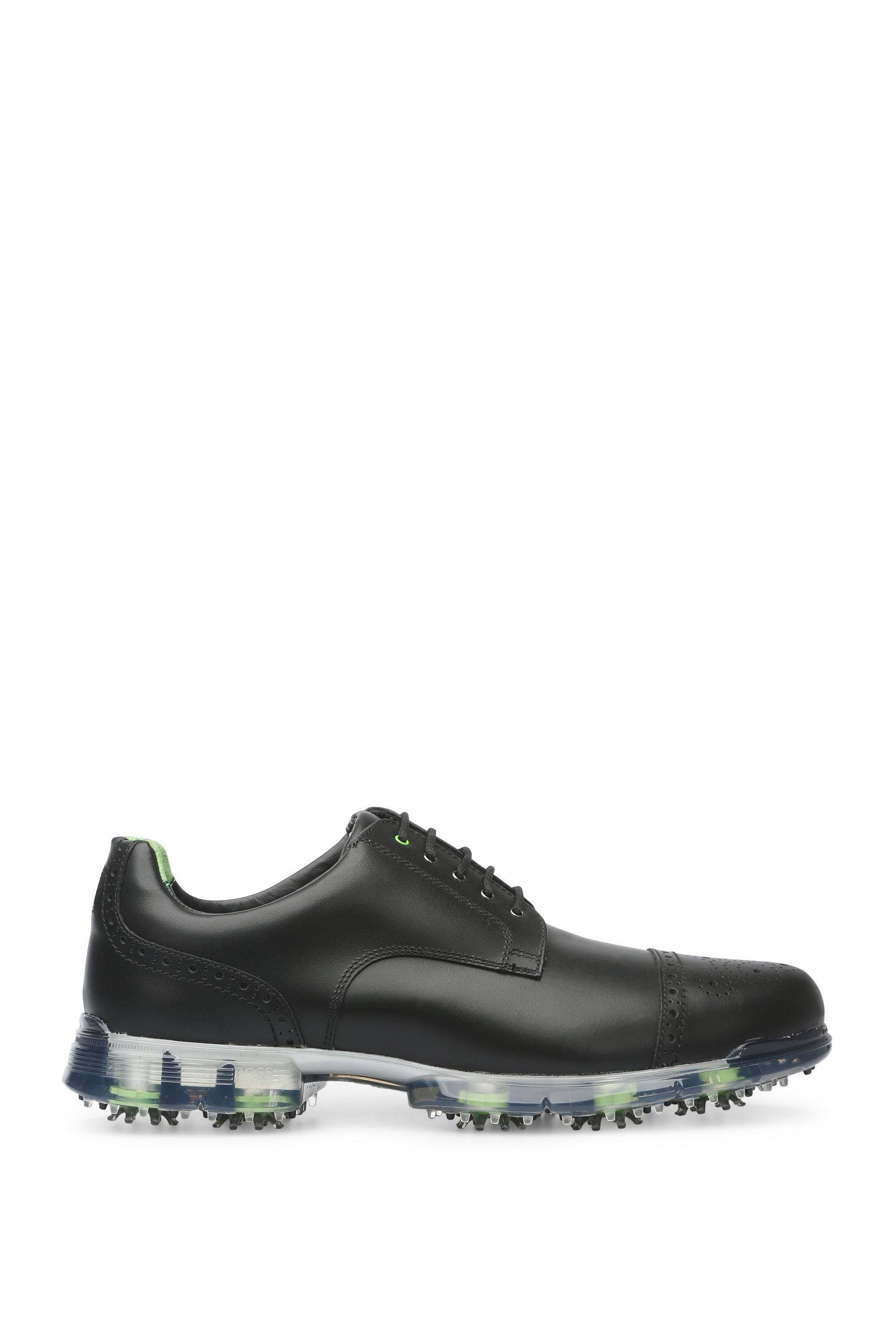 Golf shoes in leather with brogue details: 'Golfpro_Golf_ltct', Black