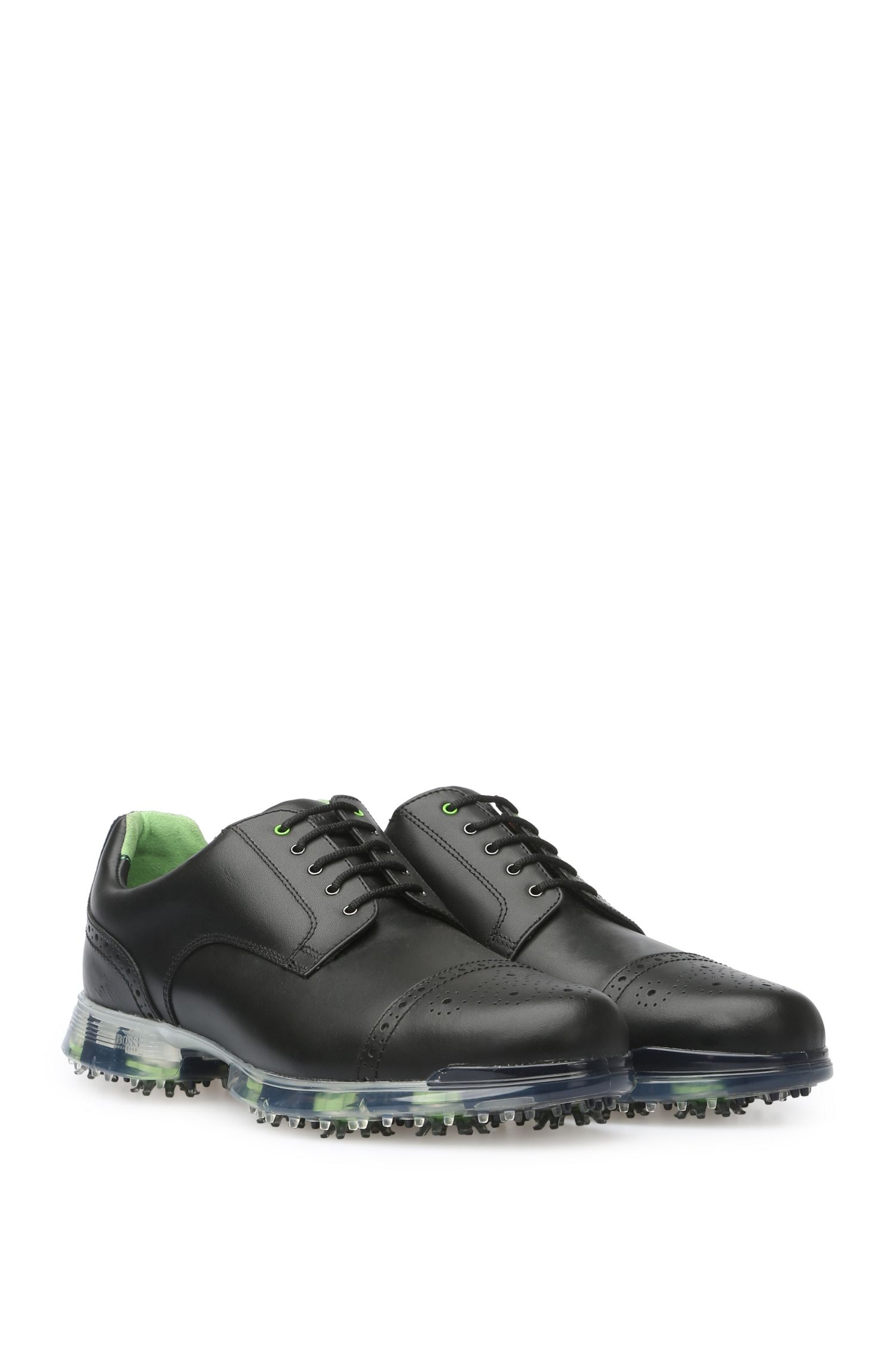 Leather golf shoes with brogue detailing, Black