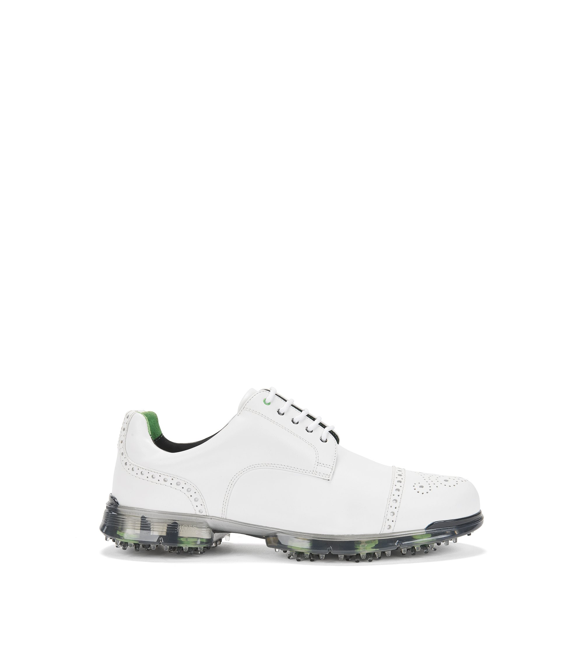 Leather golf shoes with brogue detailing, White