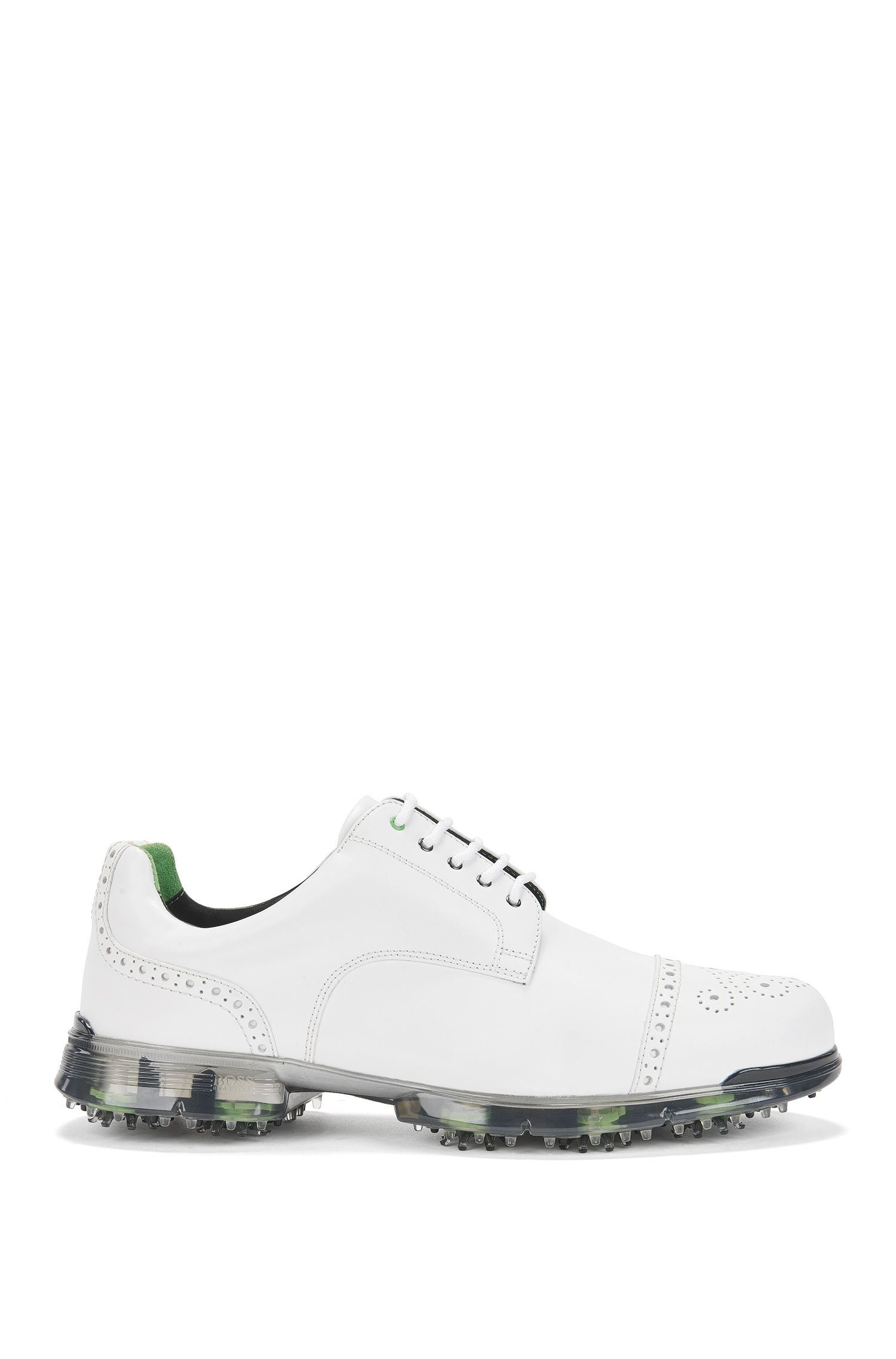 Leather golf shoes with brogue detailing