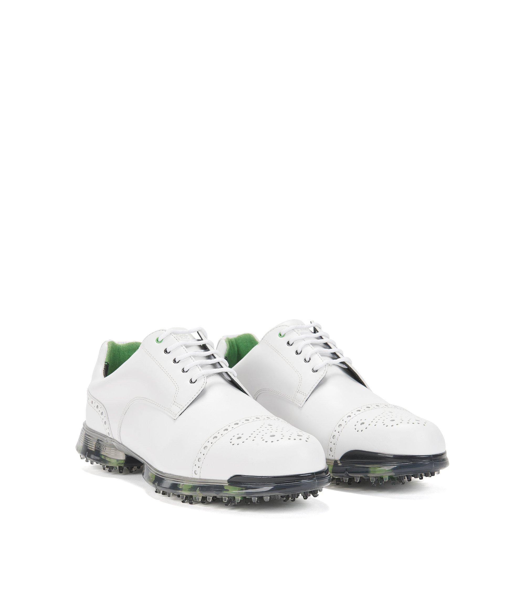 Golfschuhe aus Leder mit Lyralochung: ´Golfpro_Golf_ltct`, Weiß