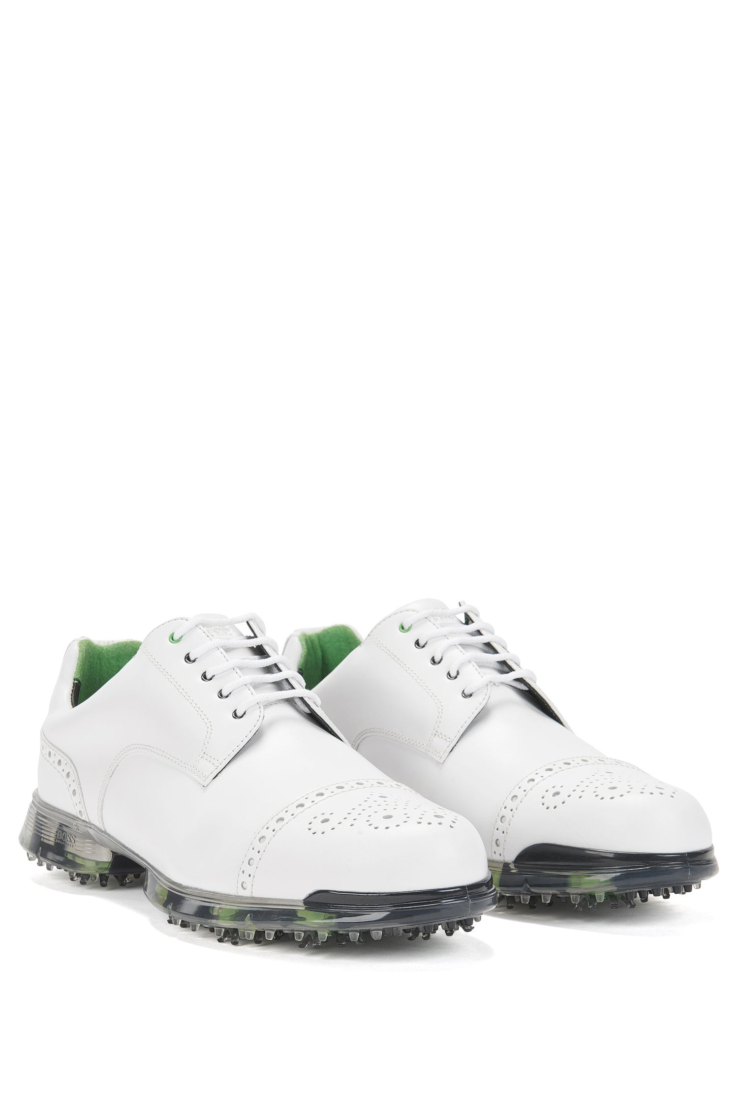 Golf shoes in leather with brogue details: 'Golfpro_Golf_ltct'