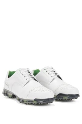 Golf shoes in leather with brogue details: 'Golfpro_Golf_ltct', White