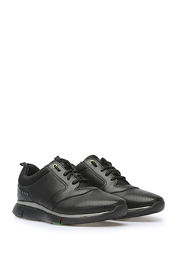 Trainers in fabric blend with perforations: 'Gym_Runn_ltpf', Black