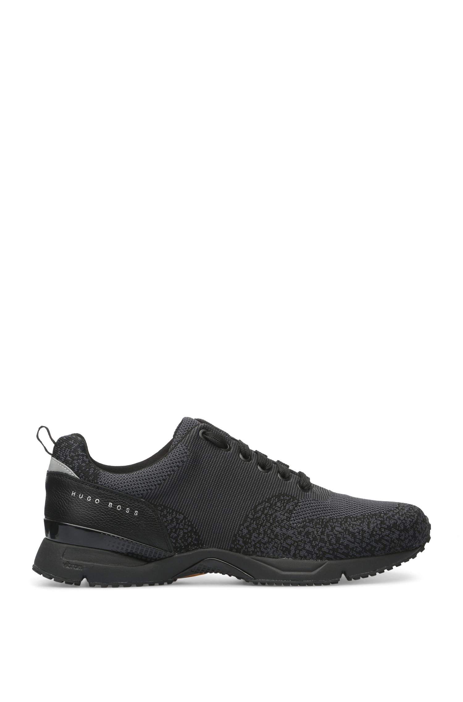 Trainers with knitted textile and leather: 'Velocity_Runn_sykn'