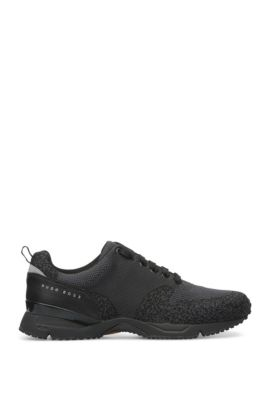 Trainers with knitted textile and leather: 'Velocity_Runn_sykn', Black