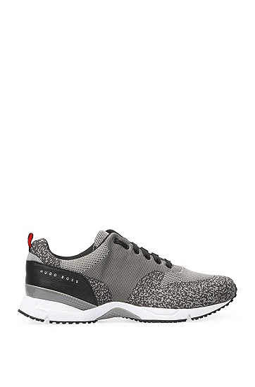 Trainers with knitted textile and leather: 'Velocity_Runn_sykn', Grey