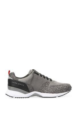 Sneakers met gebreide textiel en leer: 'Velocity_Runn_sykn', Grijs