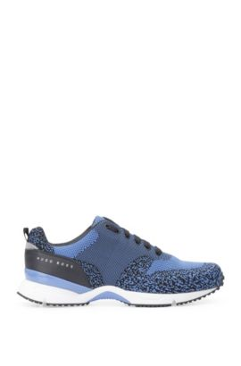 Trainers with knitted textile and leather: 'Velocity_Runn_sykn', Blue