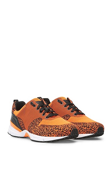 Trainers with knitted textile and leather: 'Velocity_Runn_sykn', Orange