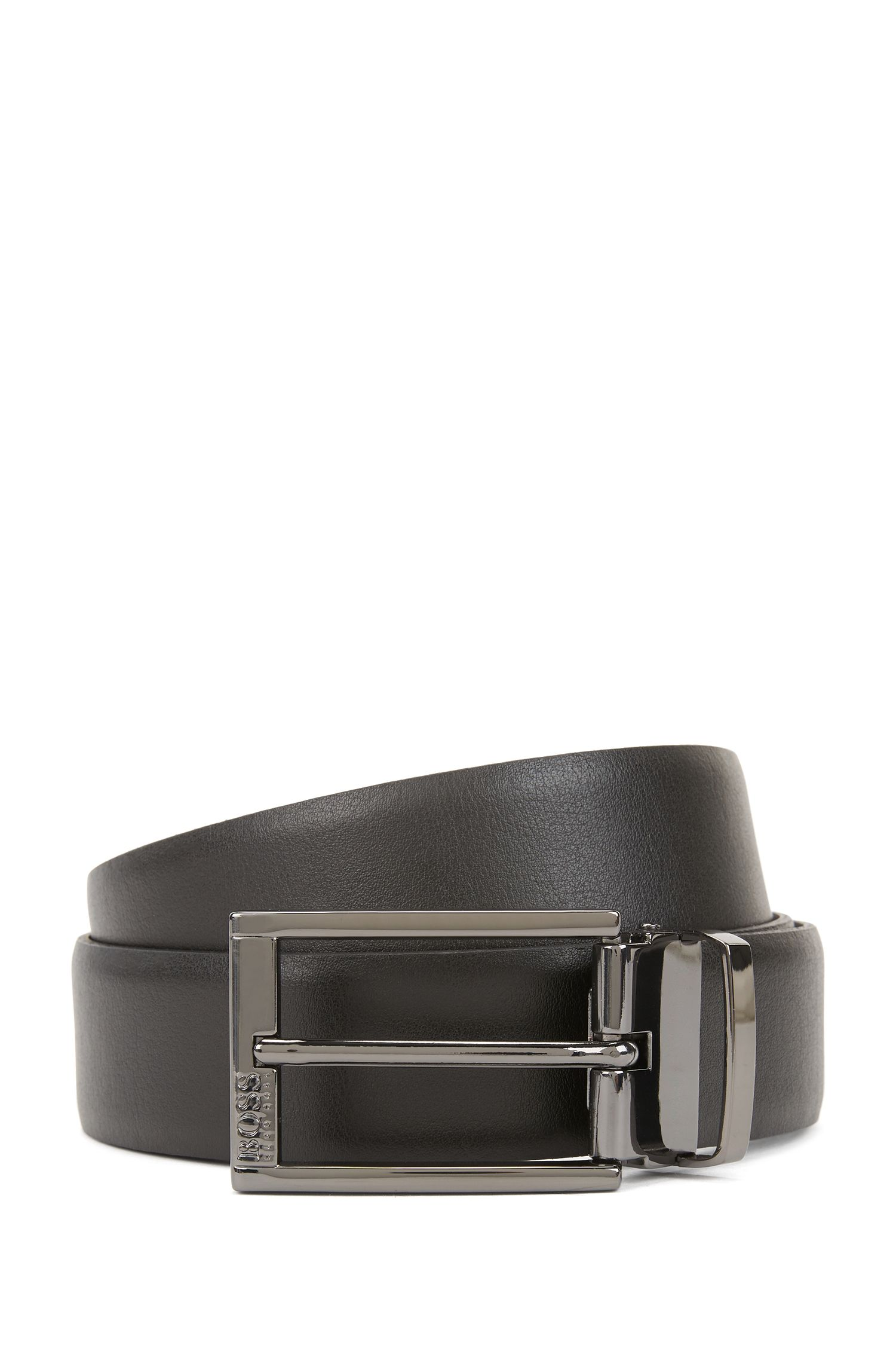 Reversible two-tone leather belt with gunmetal hardware, Black