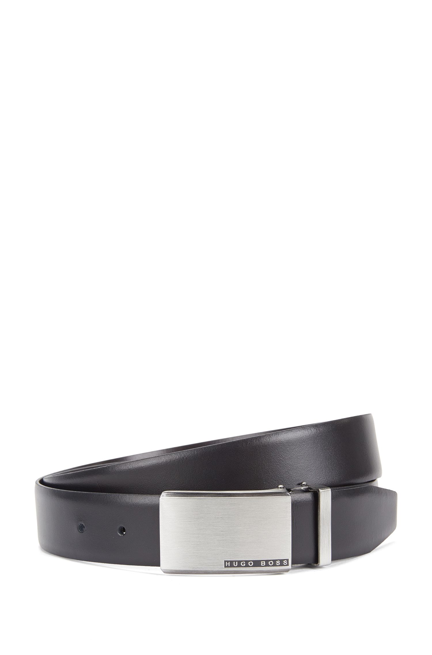Reversible leather belt with metal snap buckle: 'Odell_Or35_pp', Black