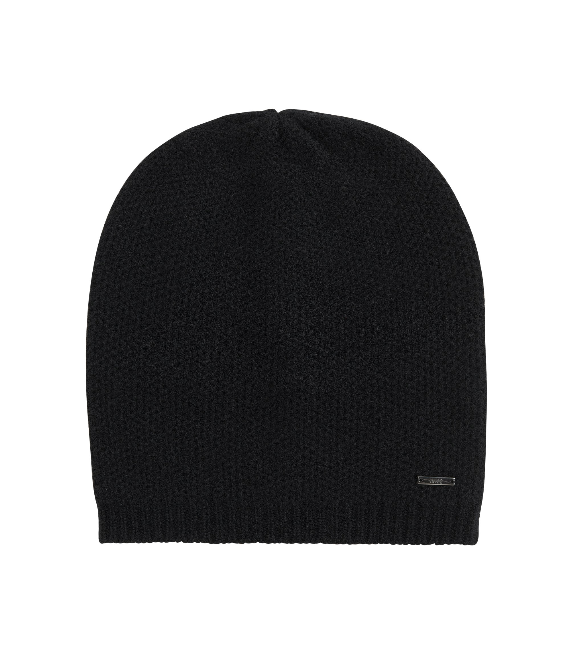 Beanie hat in soft cashmere , Black