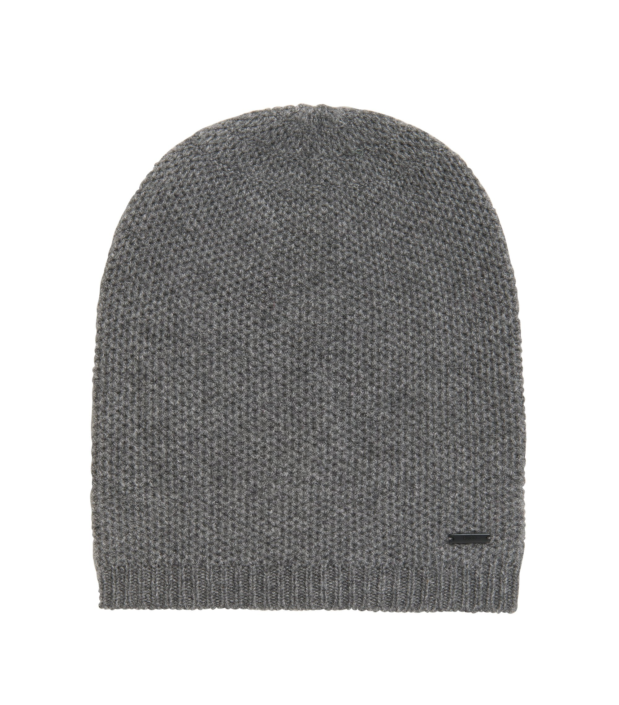 Beanie hat in soft cashmere , Grey
