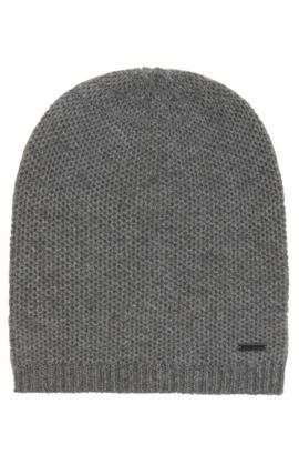 Beanie hat in soft cashmere , Open Grey