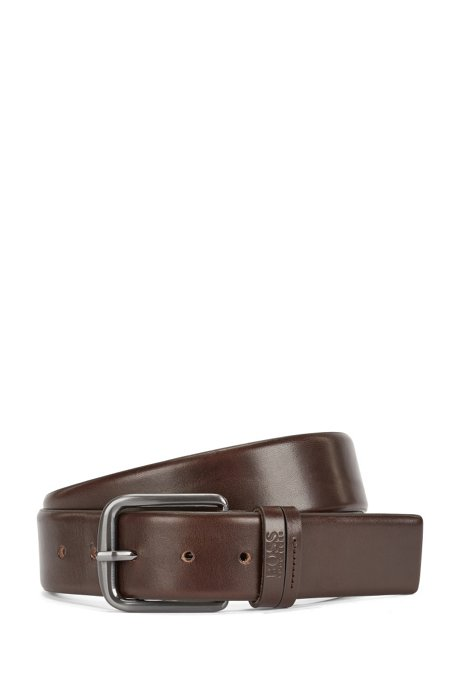 Leather belt with a rounded buckle: 'Sunio_Sz40_lptl', Dark Brown