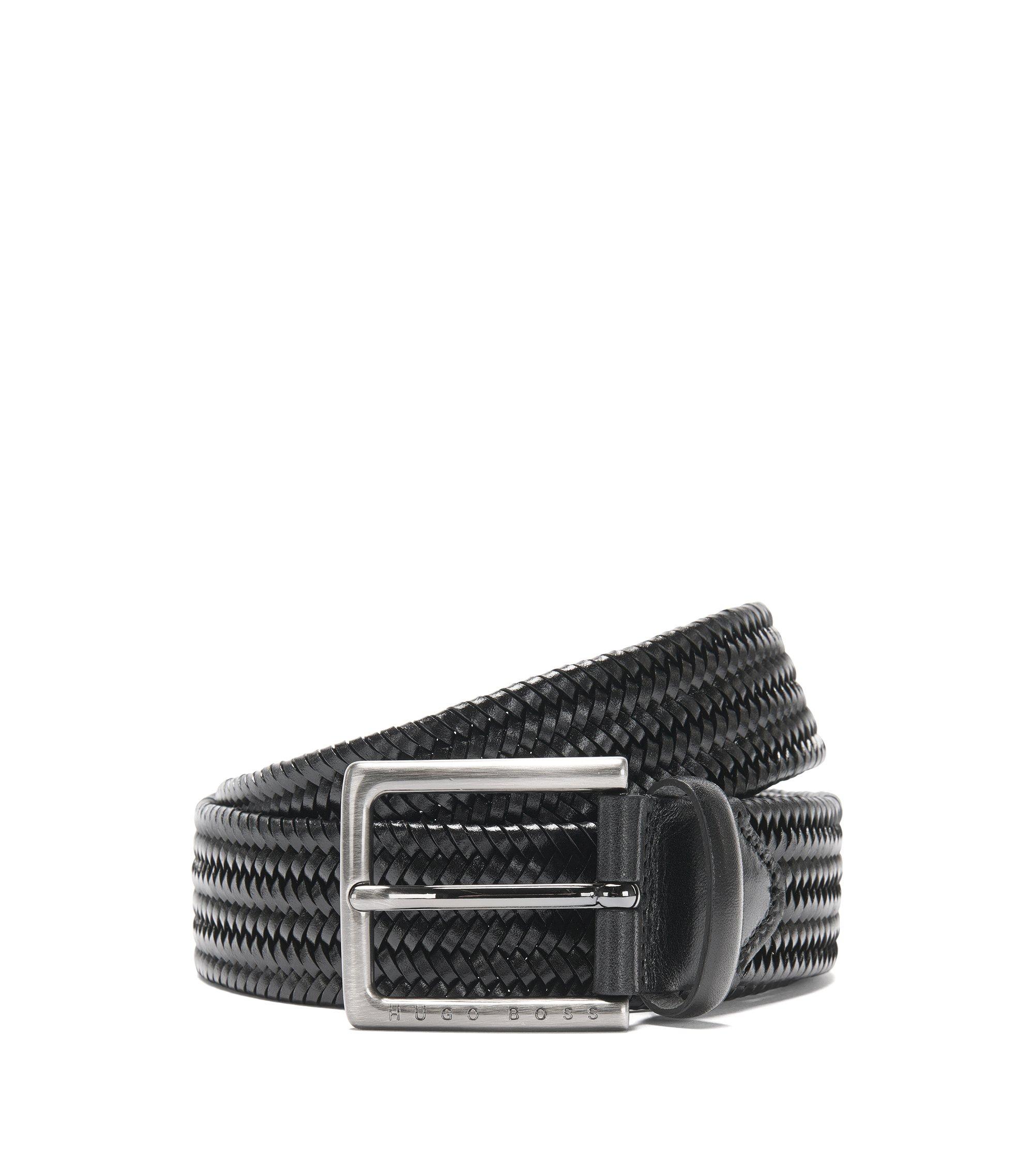 Leather belt in a braided look: 'Semyo_Sz35_mxwn', Black