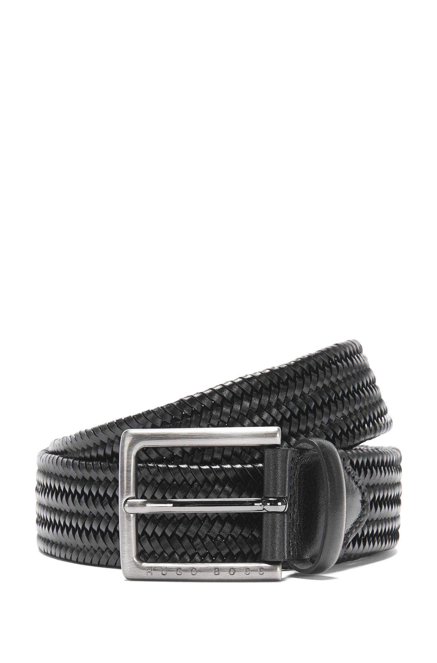 Leather belt in a braided look: 'Semyo_Sz35_mxwn'