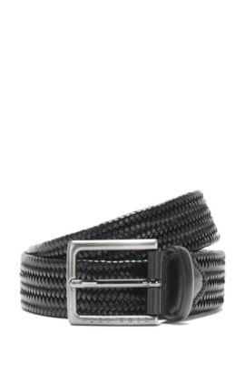 Cintura in pelle con effetto intrecciato: 'Semyo_Sz35_mxwn', Nero