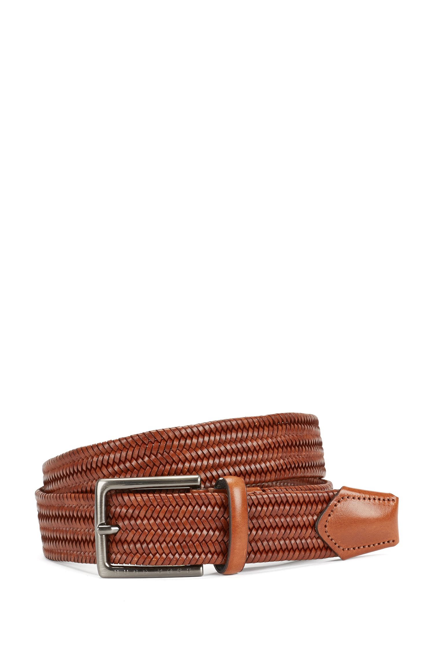 Leather belt in a braided look: 'Semyo_Sz35_mxwn'
