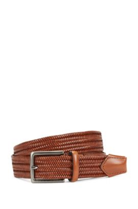 Leather belt in a braided look: 'Semyo_Sz35_mxwn', Brown