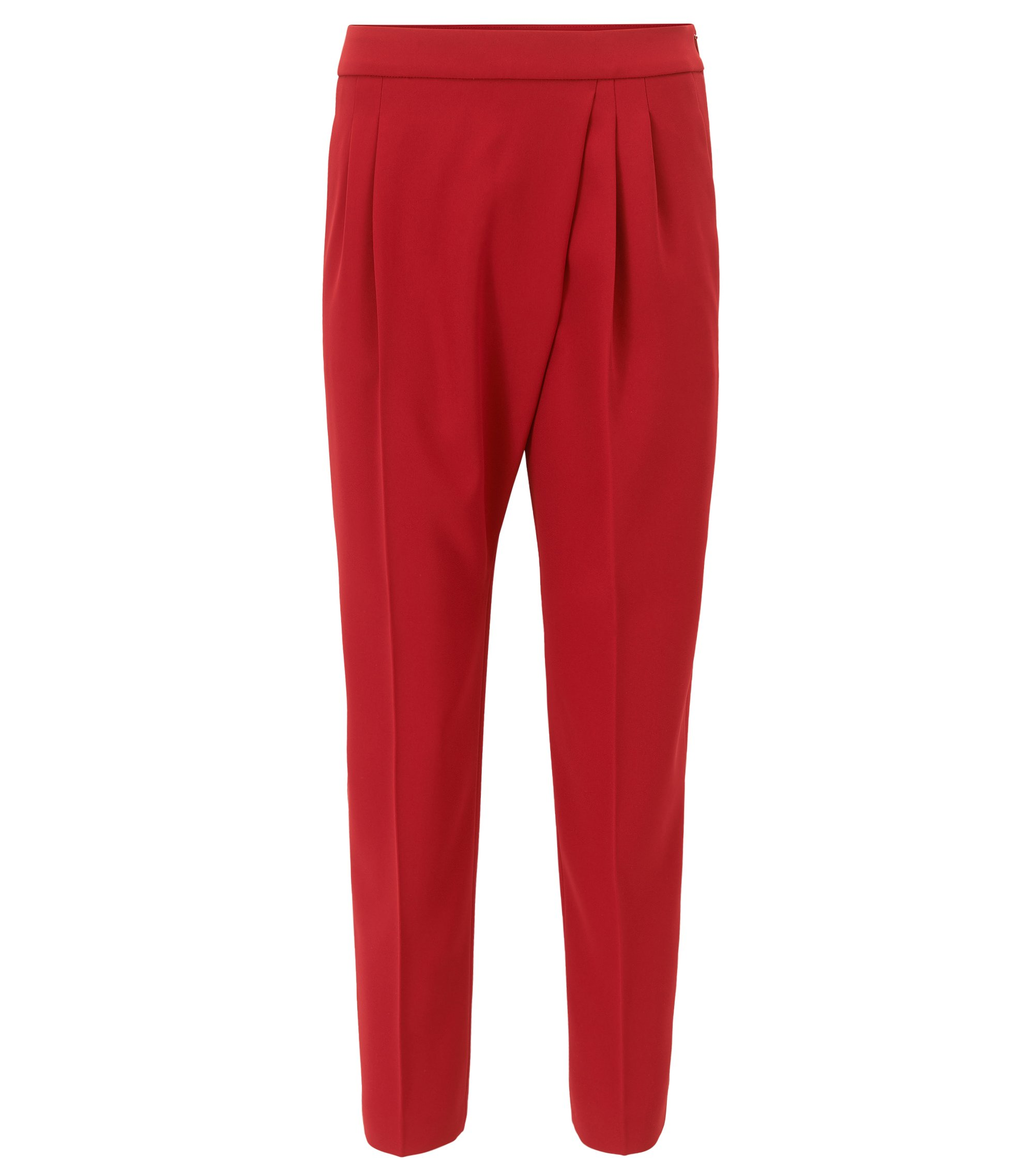 Relaxed-fit cropped trousers with asymmetric pleat detail, Red