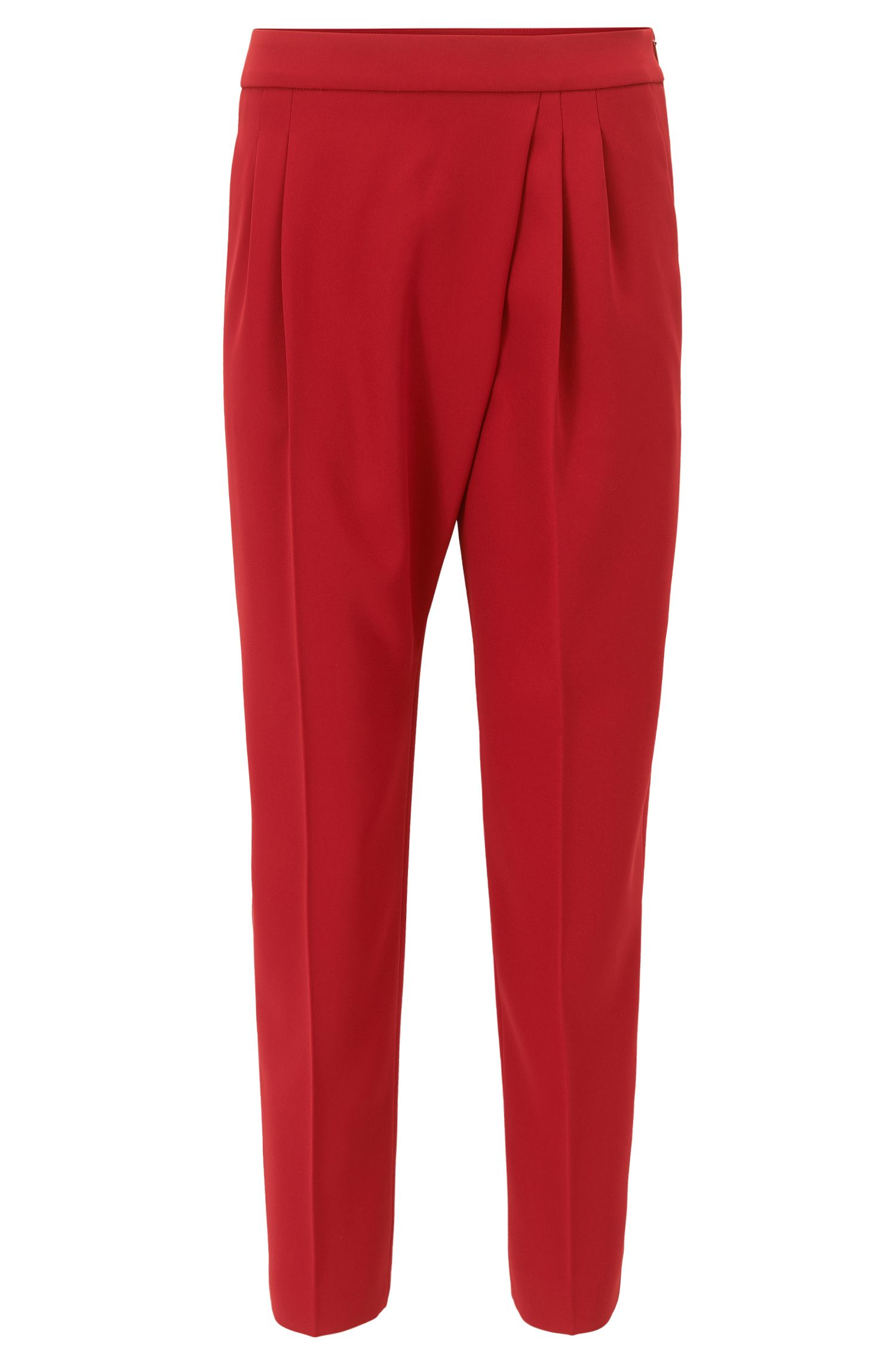 Relaxed-fit cropped trousers with asymmetric pleat detail