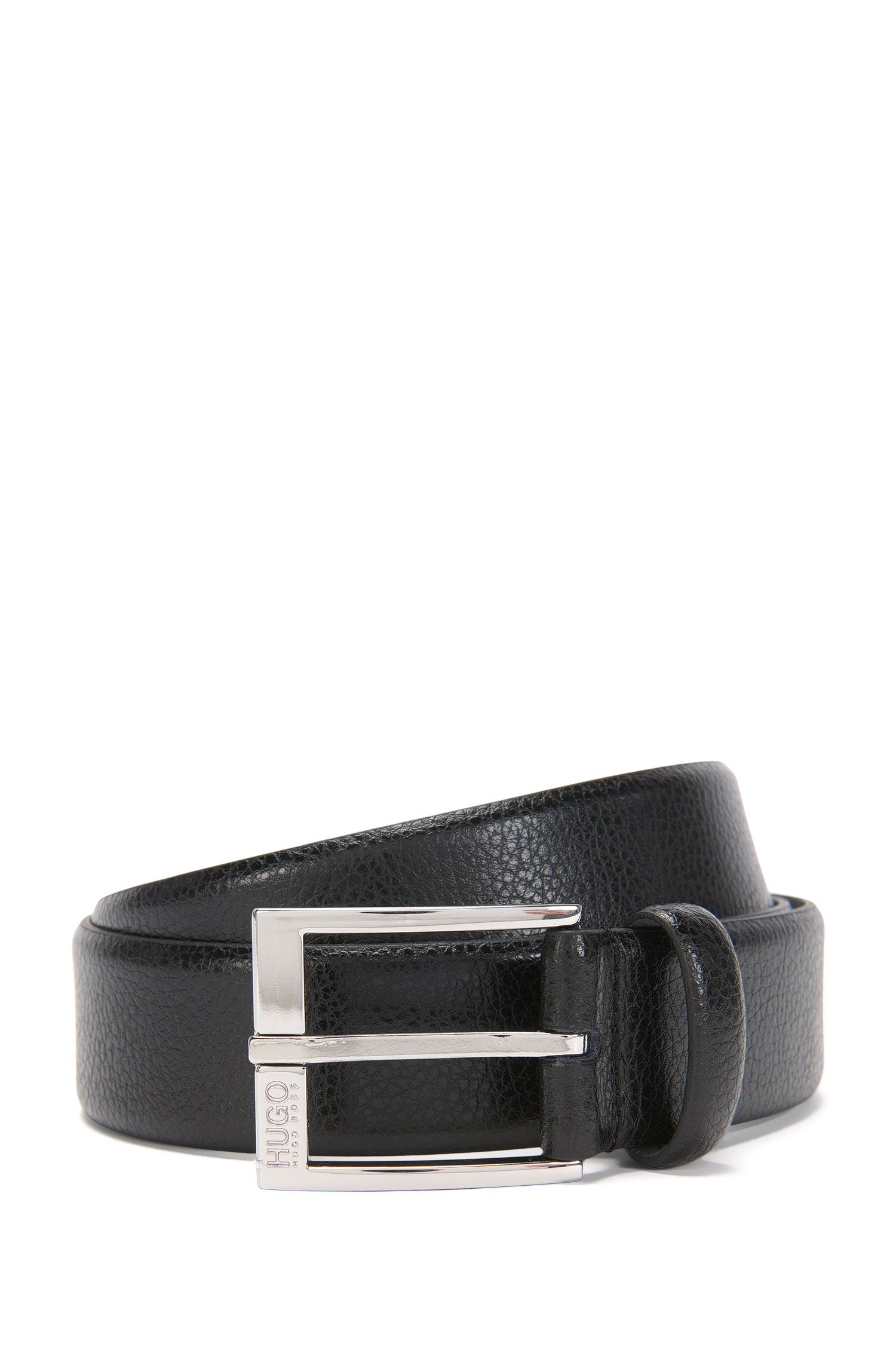Grained-leather belt with polished pin buckle