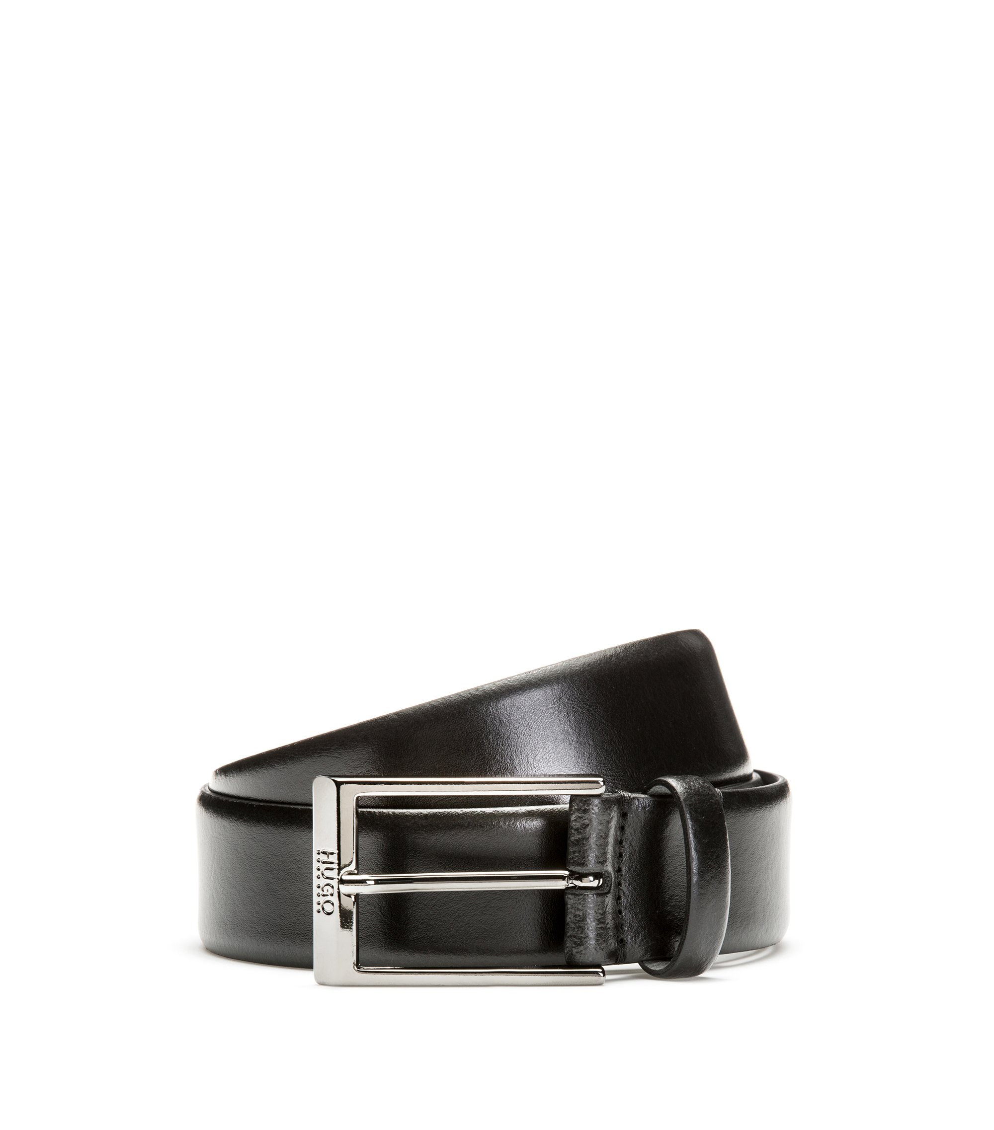 Smooth Italian leather belt with engraved pin buckle, Black