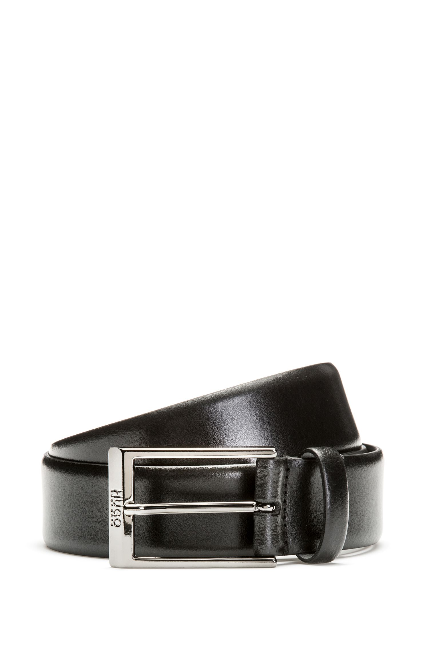 Smooth Italian leather belt with engraved pin buckle