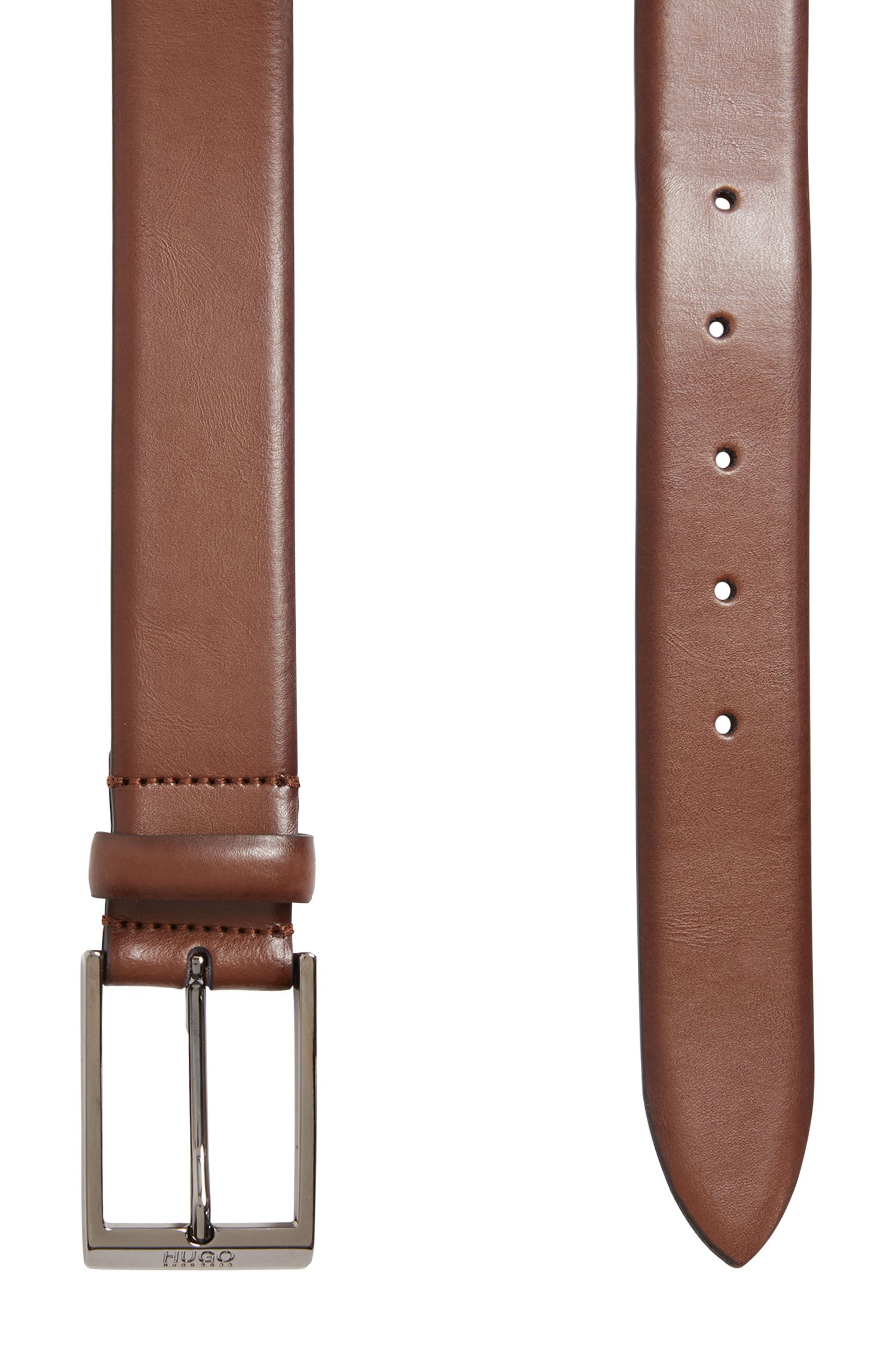 Smooth Italian leather belt with engraved pin buckle, Brown