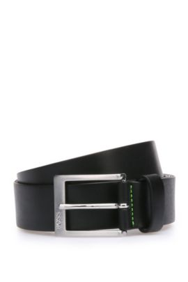 Belt in grained leather: 'Tex_Sz35_ltgr', Black