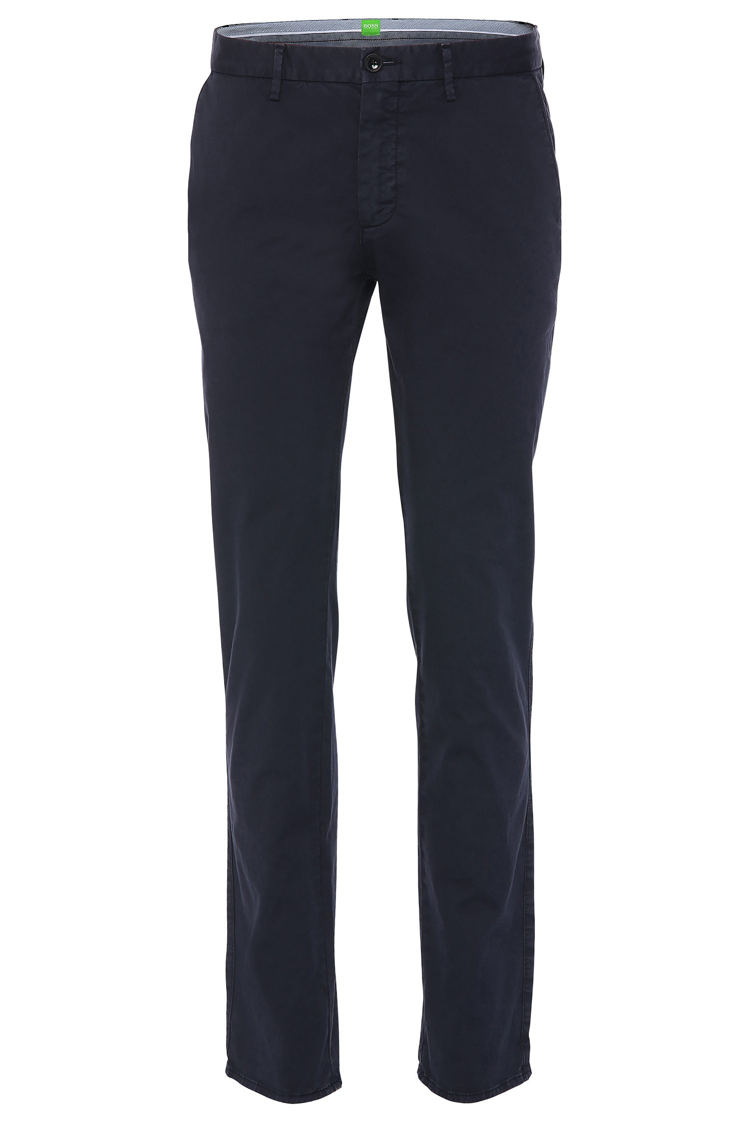 Slim-fit chinos in textured stretch cotton: 'C-Rice1-1-D'