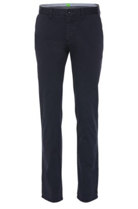 Chino Slim Fit en coton stretch structuré : « C-Rice1-1-D », Bleu foncé