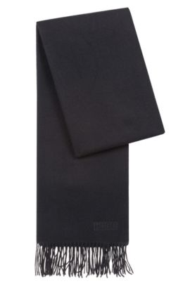 Lightweight scarf in brushed wool , Black