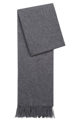 Lightweight scarf in brushed wool , Open Grey
