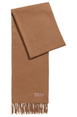 Lightweight scarf in brushed wool , Brown