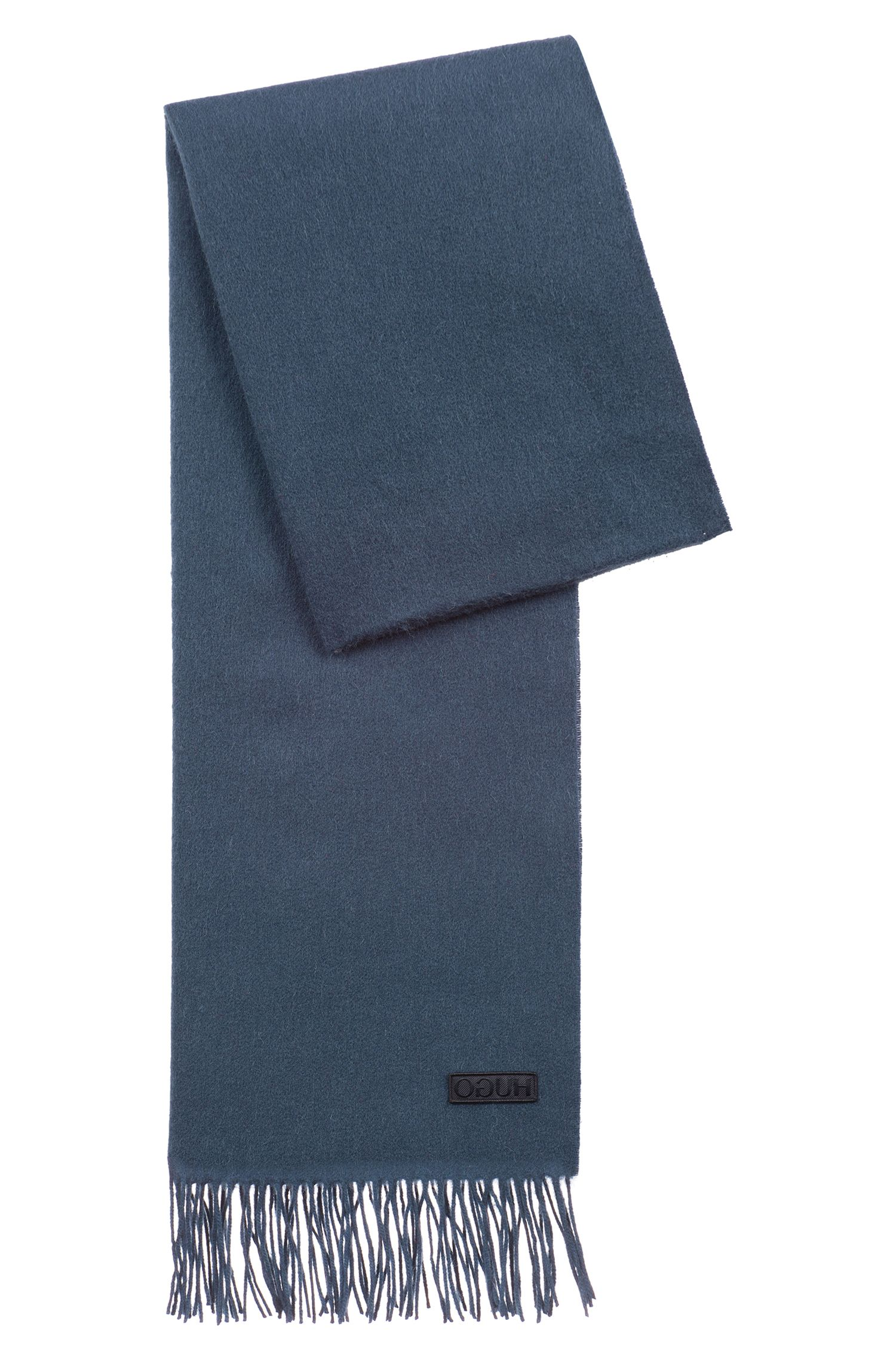 Lightweight scarf in brushed wool , Dark Blue