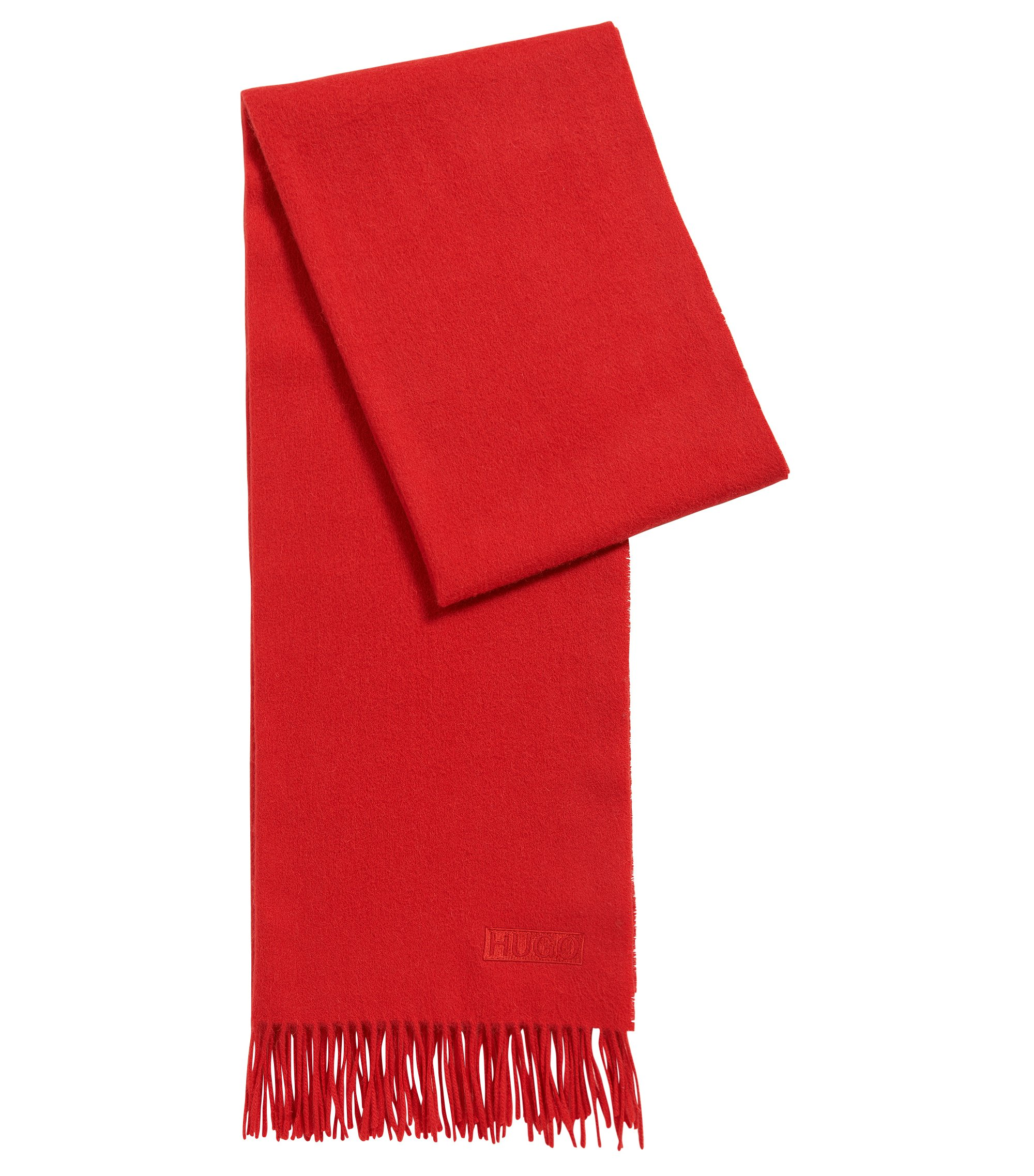 Lightweight scarf in brushed wool , Red