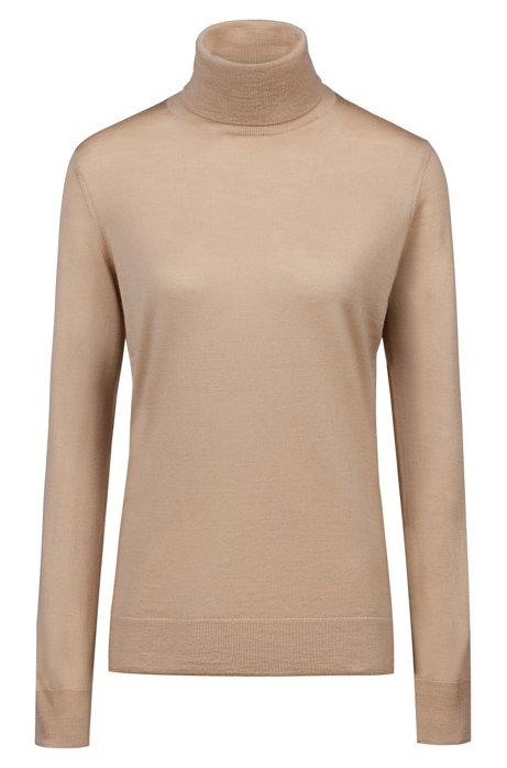 Turtle-neck sweater in merino wool, Light Brown