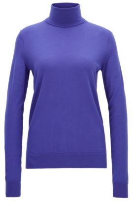 Turtle-neck sweater in merino wool, Purple