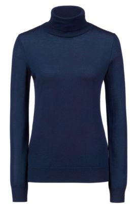 Maglione in lana merino con colletto a tartaruga, Blu scuro