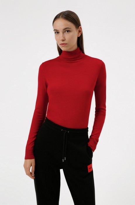 Turtleneck sweater in merino wool, Red