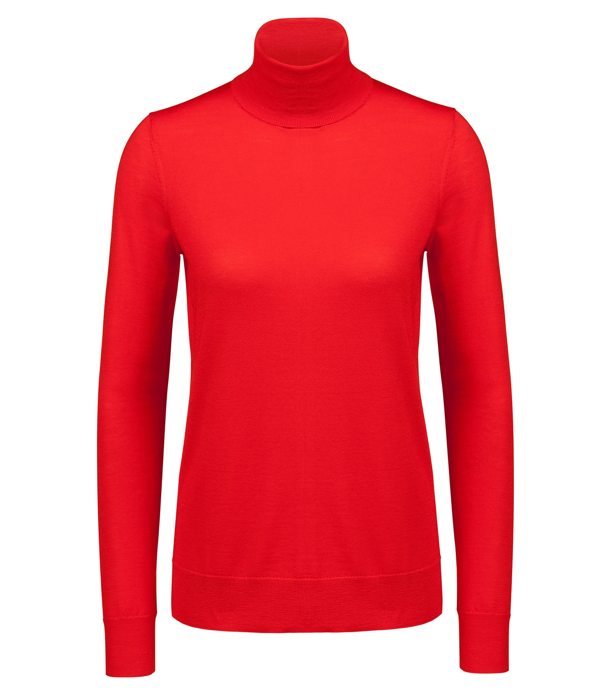 Turtle-neck sweater in merino wool, Red