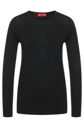 Gebreide trui van fijne merinowol, Zwart