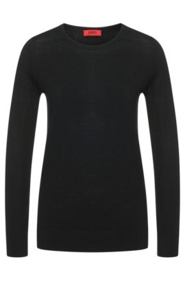 Knitted sweater in fine merino wool, Black