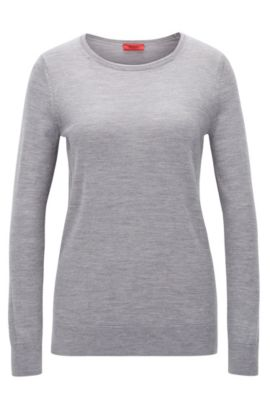 Knitted sweater in fine merino wool, Open Grey