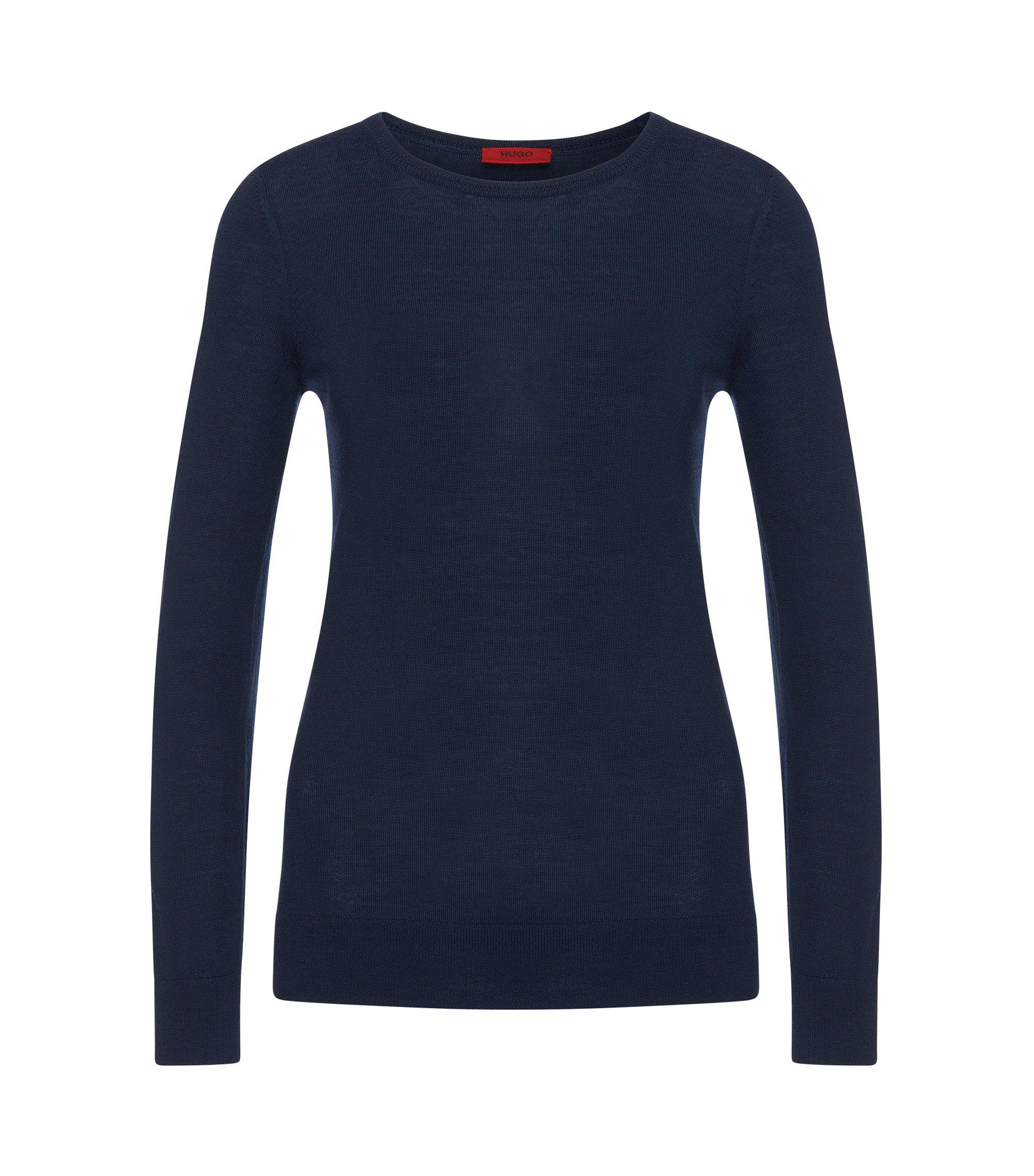 Jersey de punto en fina lana de merino, Azul oscuro