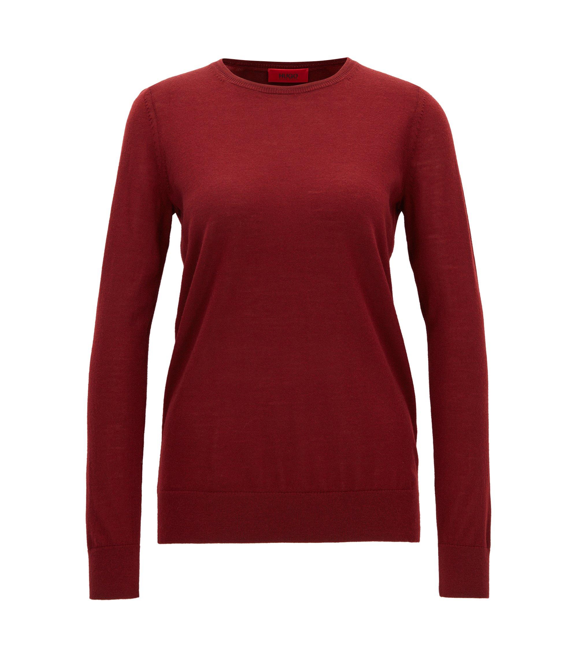 Jersey de punto en fina lana de merino, Rojo oscuro